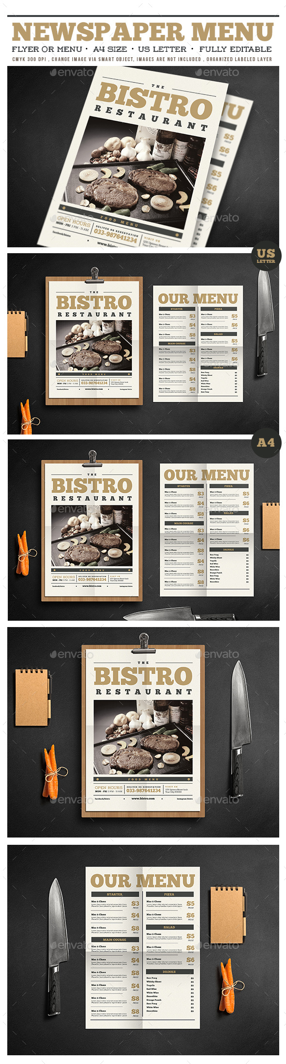 Newspaper Menu Vol 02 - Restaurant Flyers