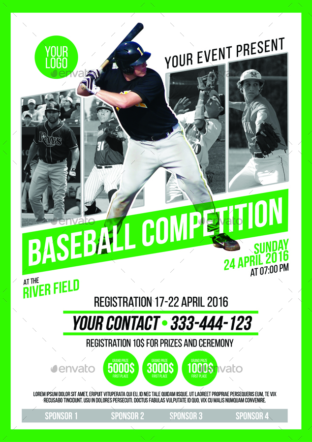 baseball competition poster flyer by muhamadiqbalhidayat