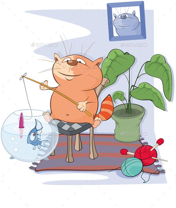 Cat Fisherman - Animals Characters