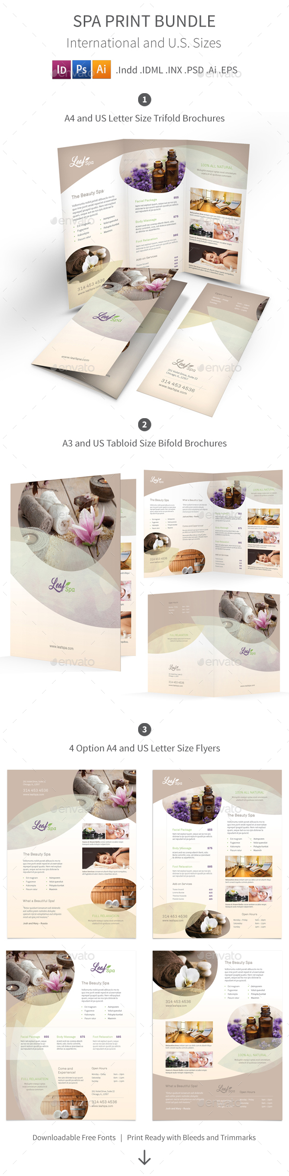Spa Print Bundle 5 - Informational Brochures