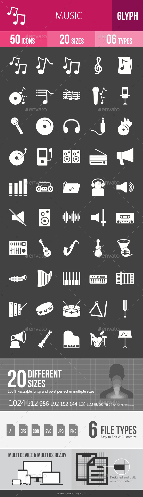 Music Glyph Inverted Icons - Icons
