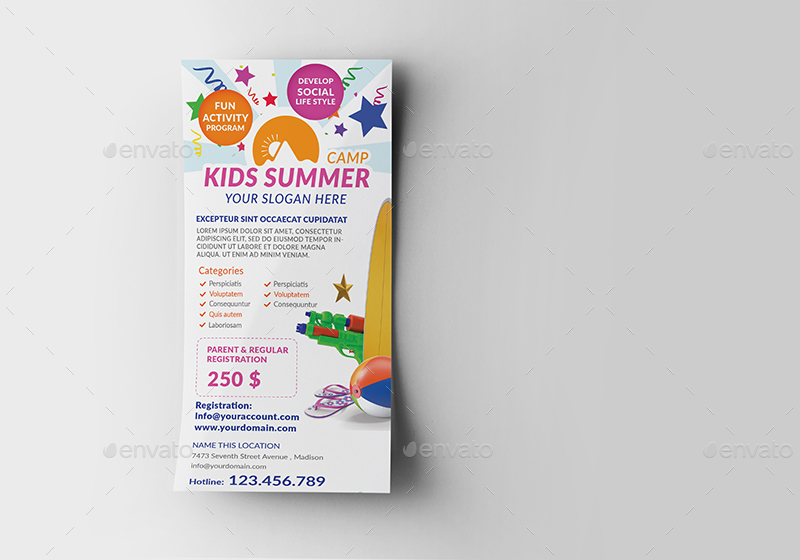 Kids Summer Camp Rack Card And Voucher Template By Wutip