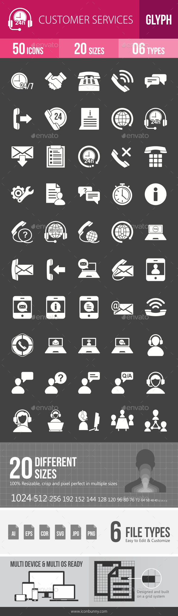 Customer Services Glyph Inverted Icons - Icons