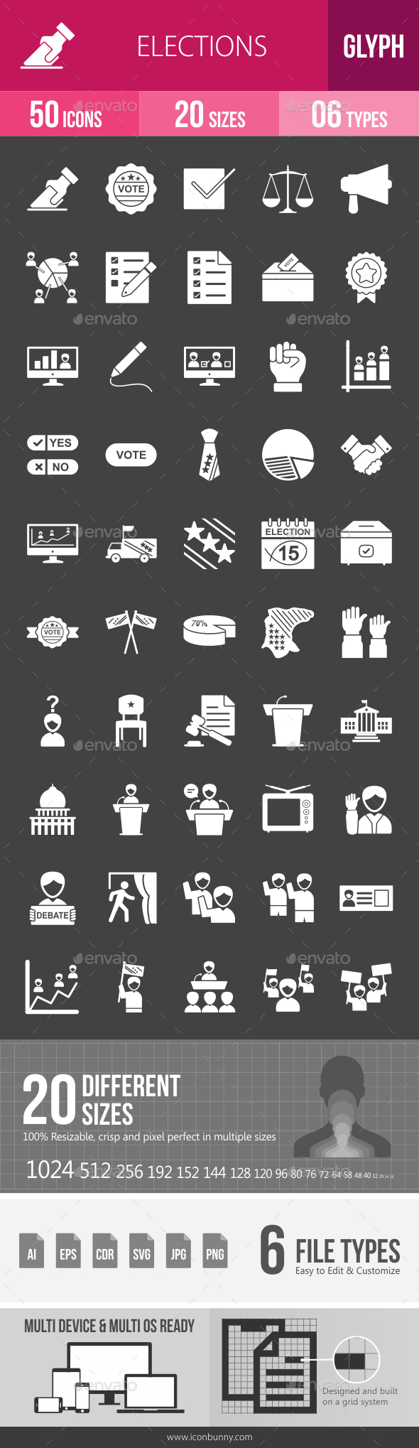 Elections Glyph Inverted Icons - Icons