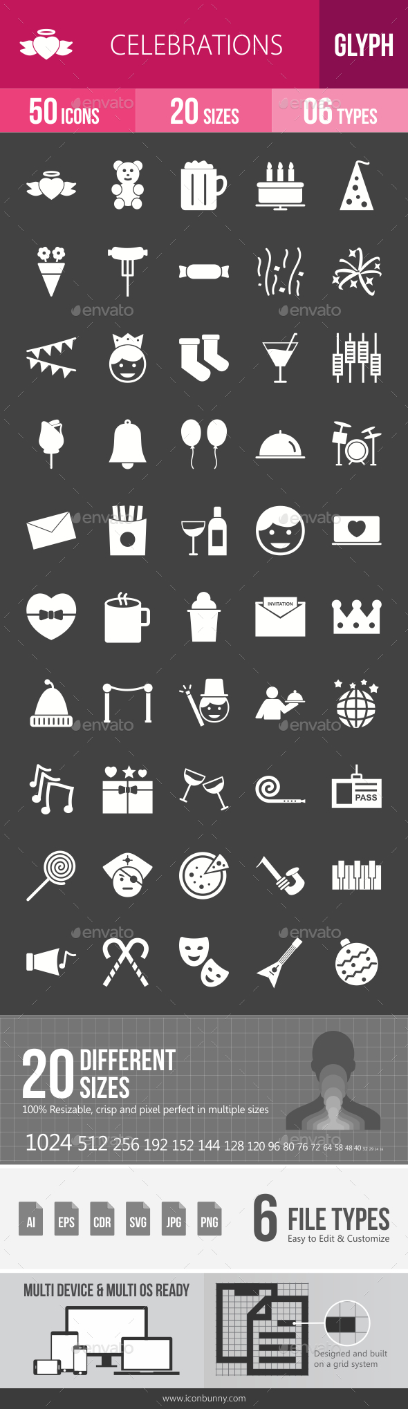 Celebrations Glyph Inverted Icons - Icons