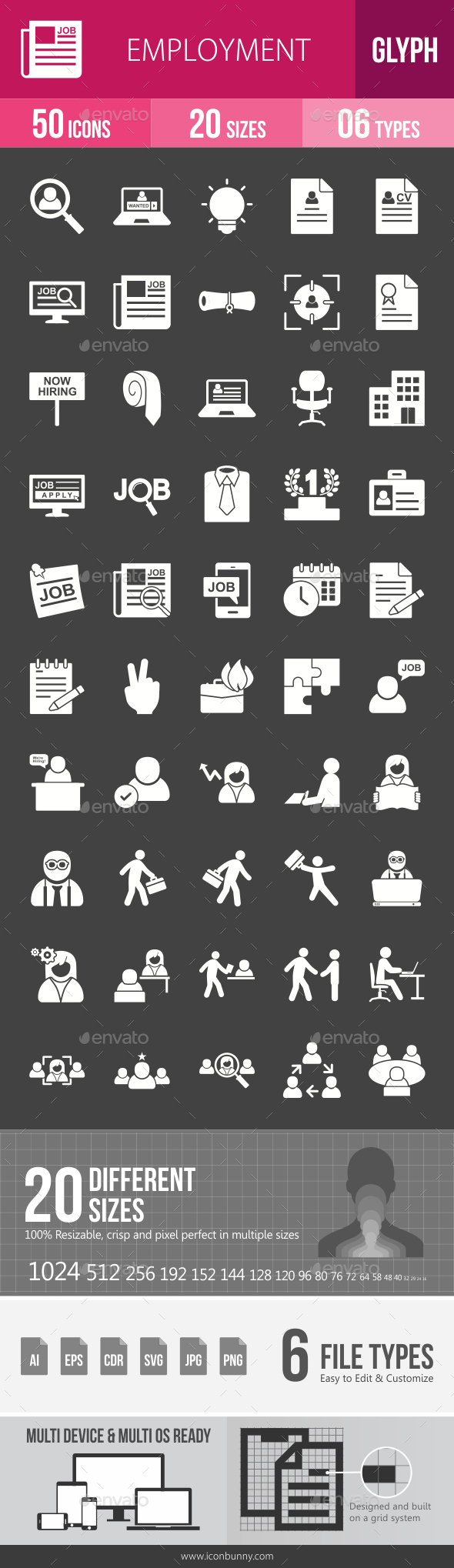 Employment Glyph Inverted Icons - Icons