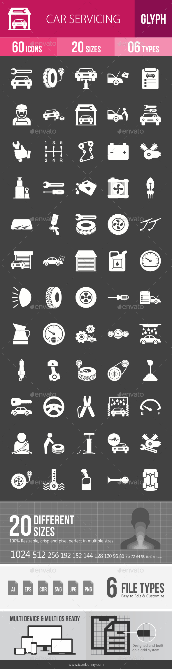 Car Servicing Glyph Inverted Icons - Icons