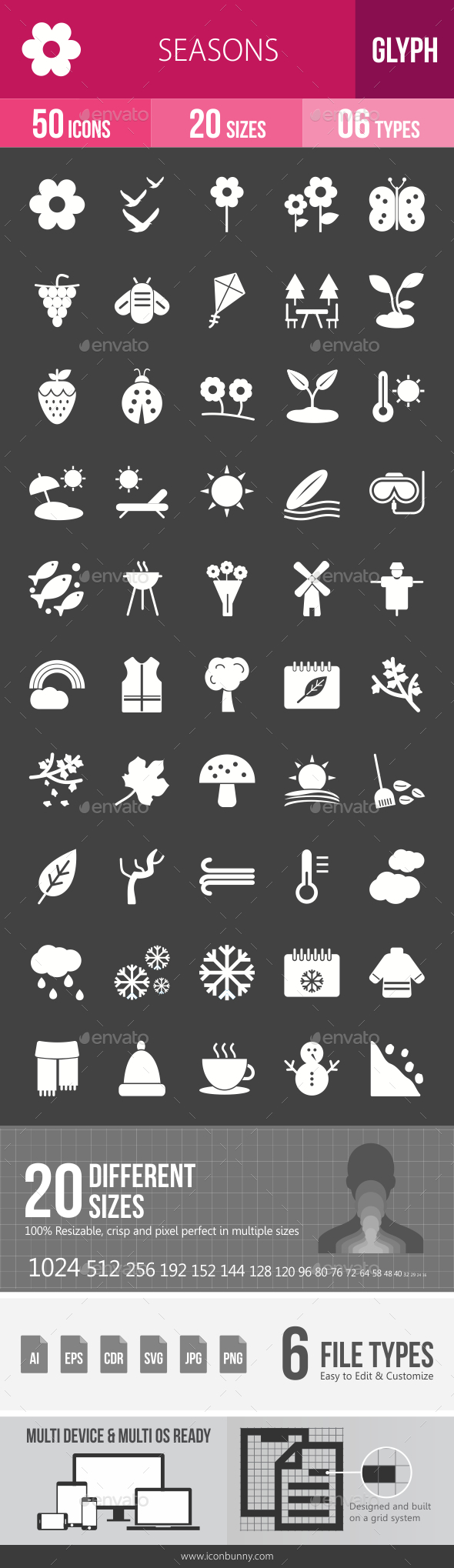 Seasons Glyph Inverted Icons - Icons