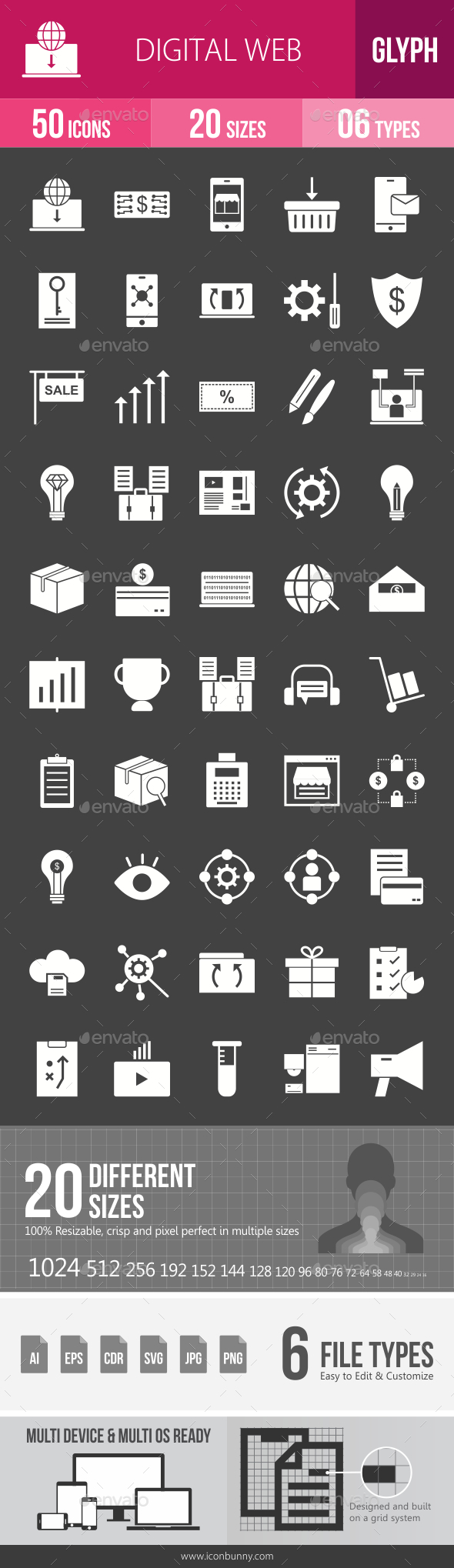 Digital Web Glyph Inverted Icons - Icons