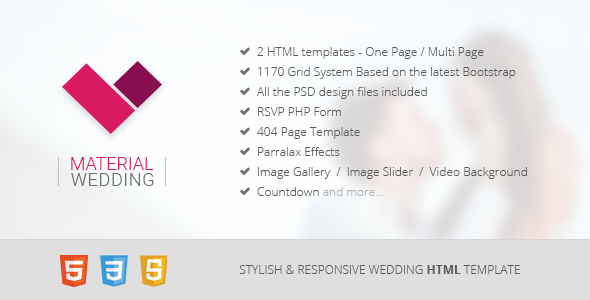Material Wedding - Clean and Beautiful Wedding HTML Template - Wedding Site Templates