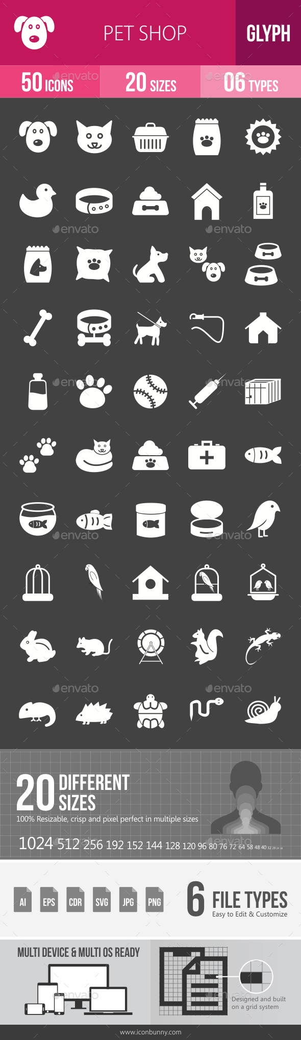 Pet Shop Glyph Inverted Icons - Icons