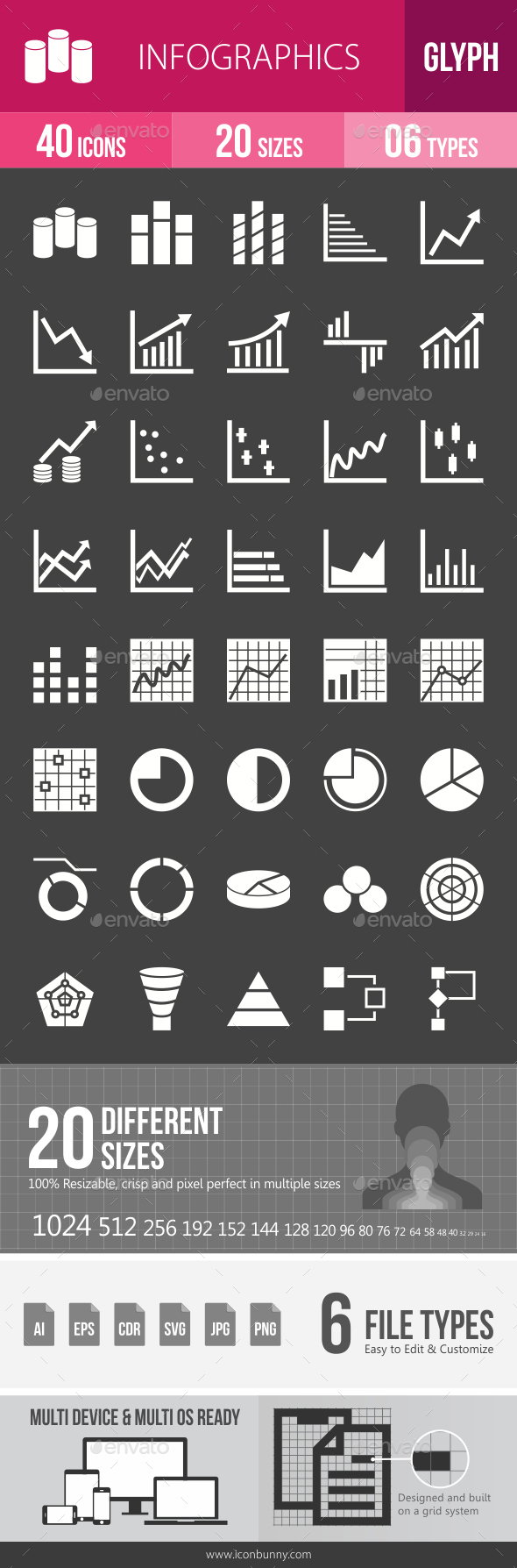 Infographics Glyph Inverted Icons - Icons