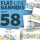 Set of Flat Line Banners for Website Design - GraphicRiver Item for Sale