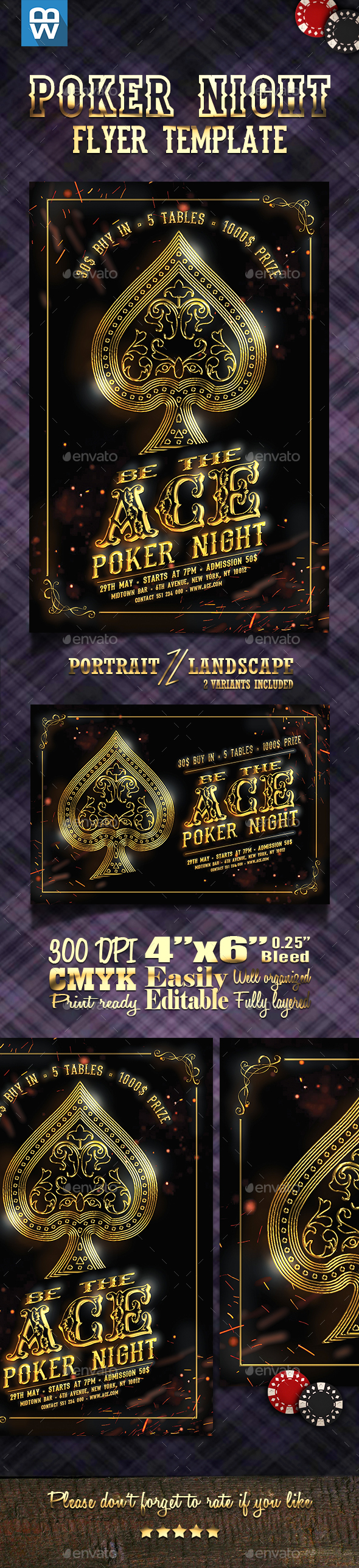 Ace - Poker Night Flyer Template