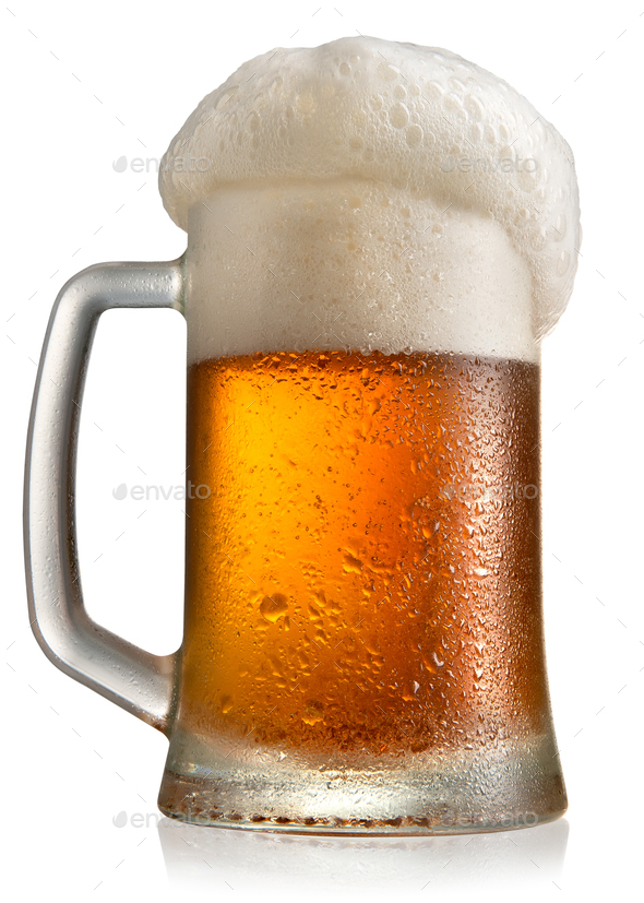 Frosty beer in mug - Stock Photo - Images