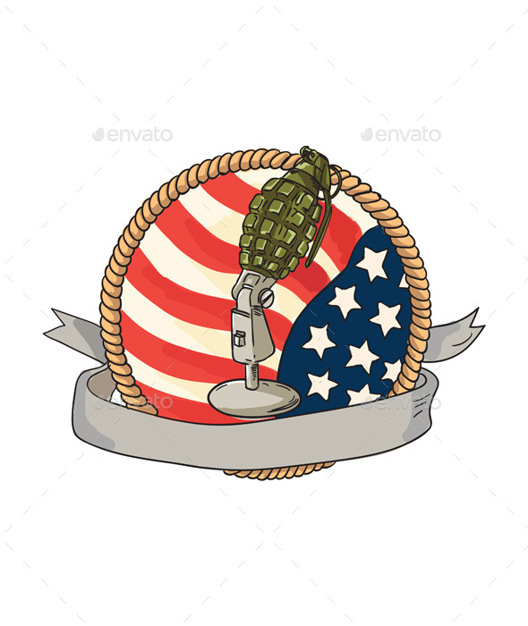 Grenade Microphone USA Flag Circle Retro - Man-made Objects Objects