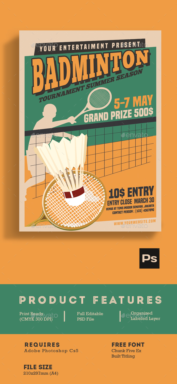 Badminton Tournament Vintage Style - Sports Events