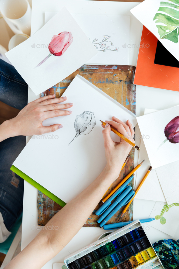 Woman painter drawing tulips by gel ink pen at table - Stock Photo - Images