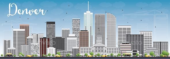 Denver Skyline with Gray Buildings and Blue Sky - Buildings Objects