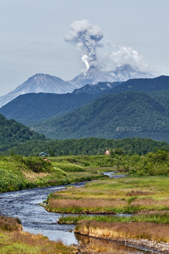 Mountain Landscape: Eruption Zhupanovsky Volcano on Kamchatka - Stock Photo - Images