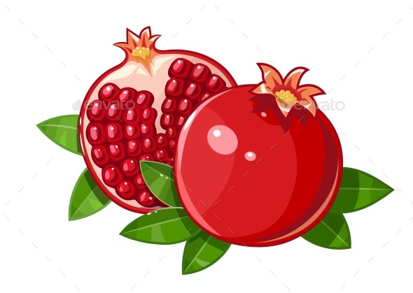 Pomegranate Fruit with Stylized Leaf - Food Objects