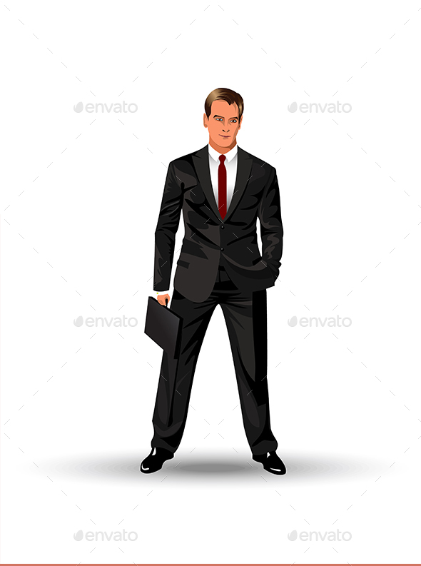 Man in a Black Suit - People Characters