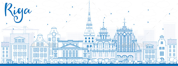 Outline Riga Skyline with Blue Landmarks - Buildings Objects