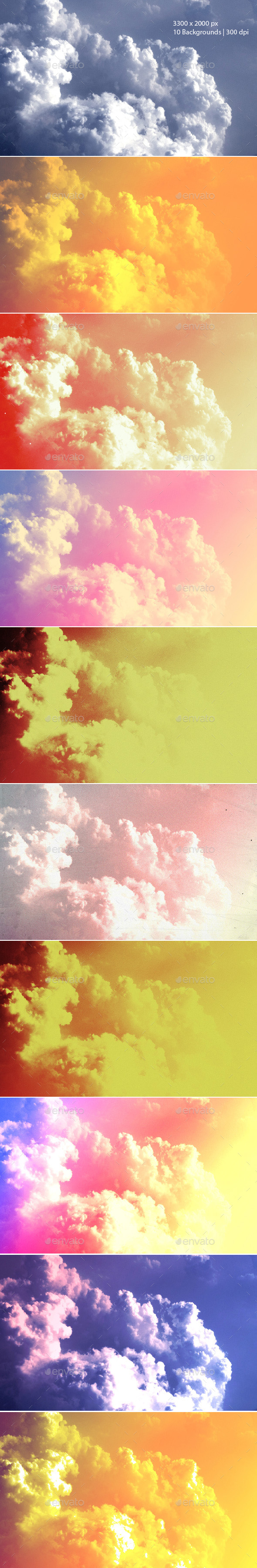 Colorful Cloudy Sky Backgrounds   - Abstract Backgrounds