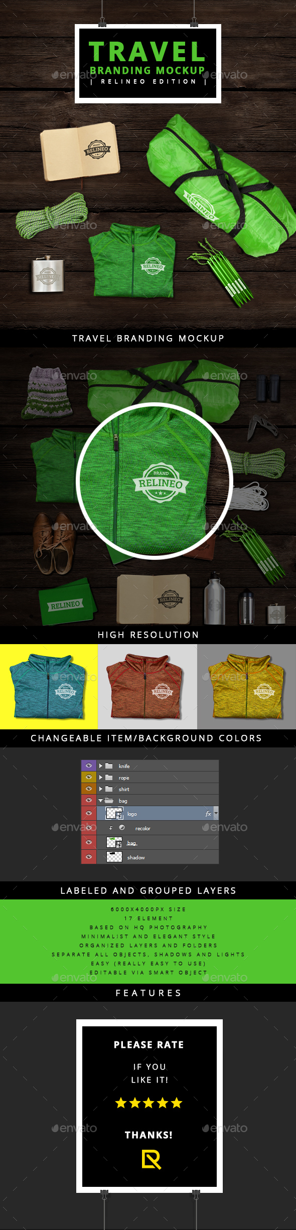 Travel Brand Identity Mock-up - Miscellaneous Product Mock-Ups