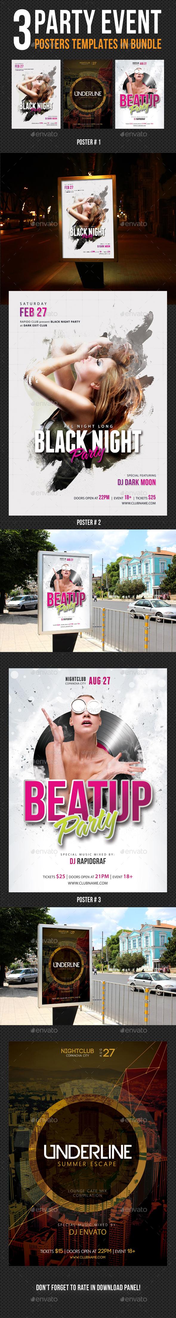 3 Party Event Music Poster Bundle 03 - Signage Print Templates