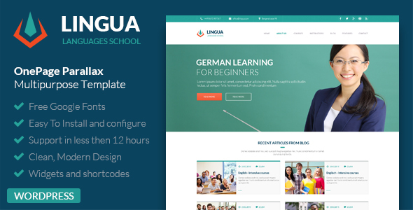 Lingua WordPress Version – Responsive Multipurpose Template