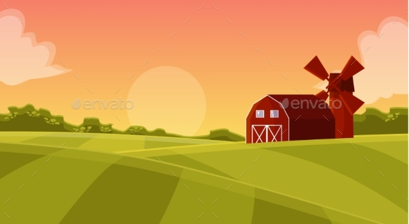 Wooden Red Hangar at the Farmers Field - Landscapes Nature