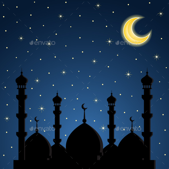 Night Background with Mosque Silhouette - Religion Conceptual