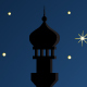 Night Background with Mosque Silhouette - GraphicRiver Item for Sale