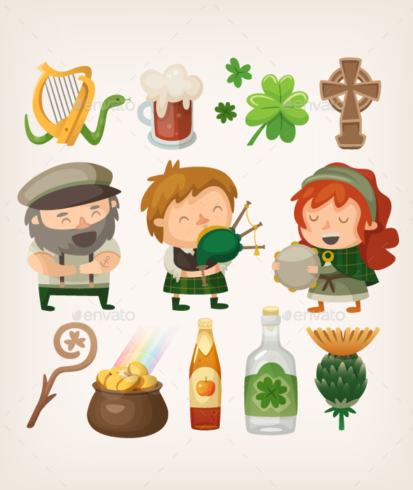 Irish People and Items - Travel Conceptual
