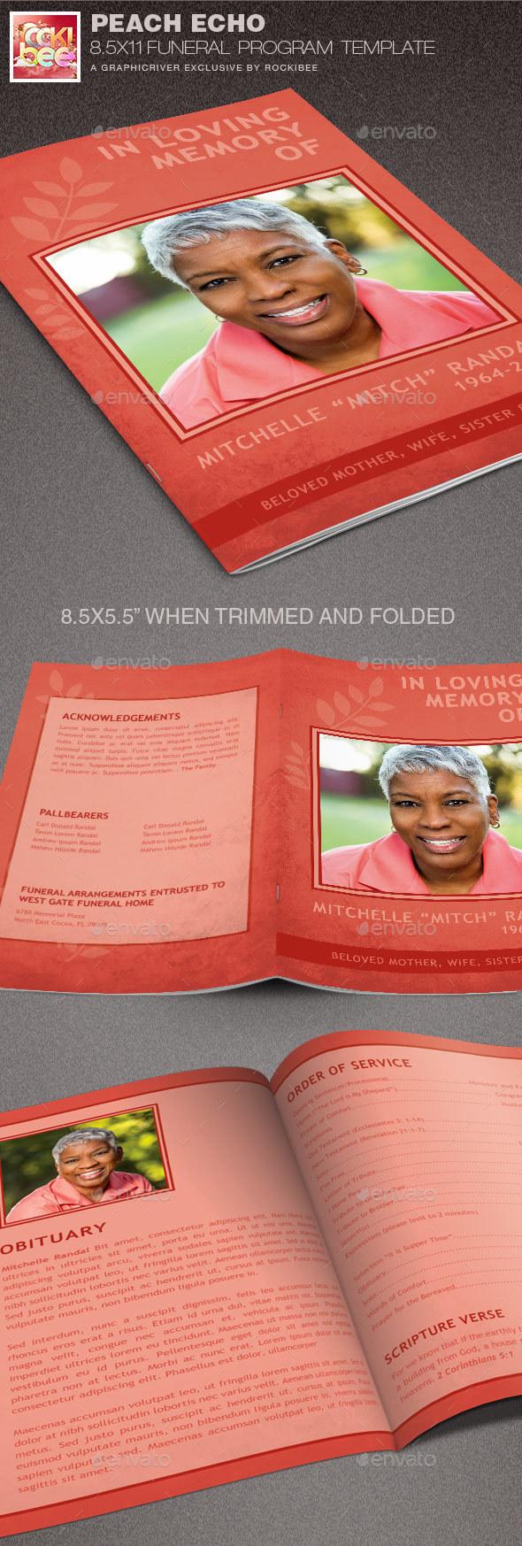 Peach Echo Funeral Program Template - Informational Brochures