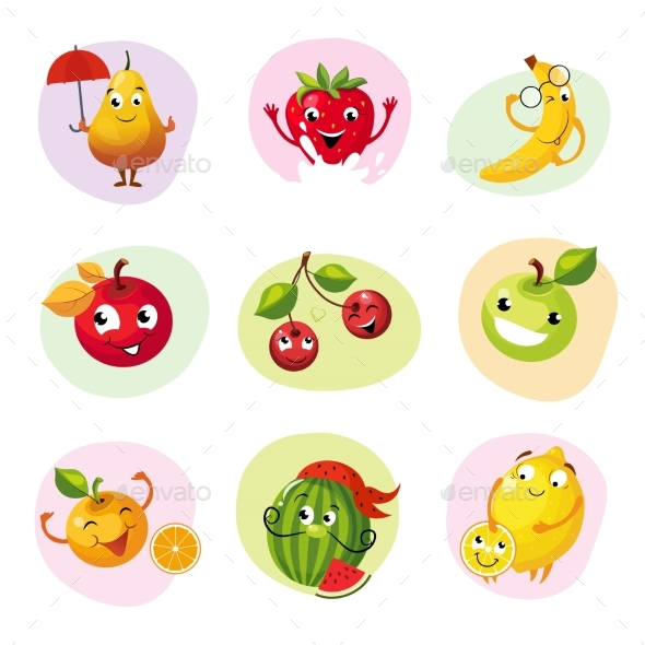 Fruit Caracters Set - Food Objects