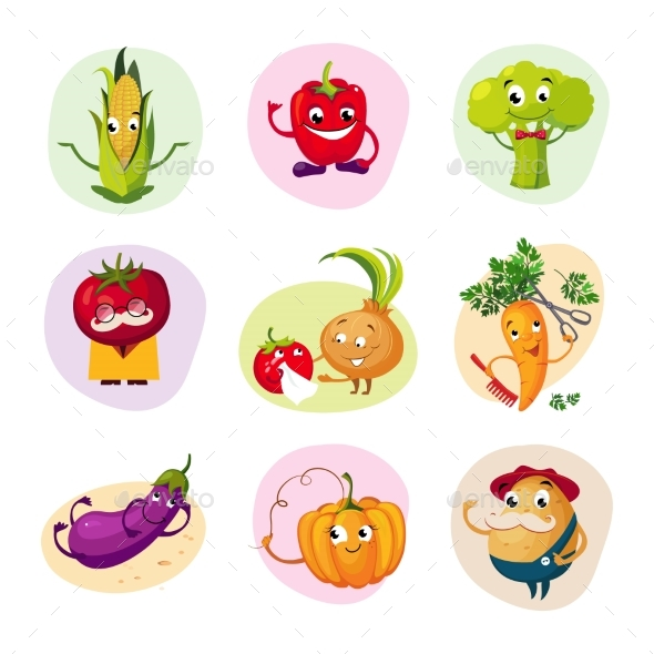 Vegetable Characters Set - Food Objects