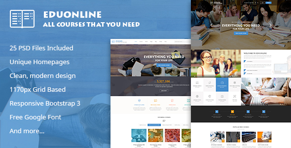 Eduonline - Multipurpose Business PSD Template - Creative PSD Templates