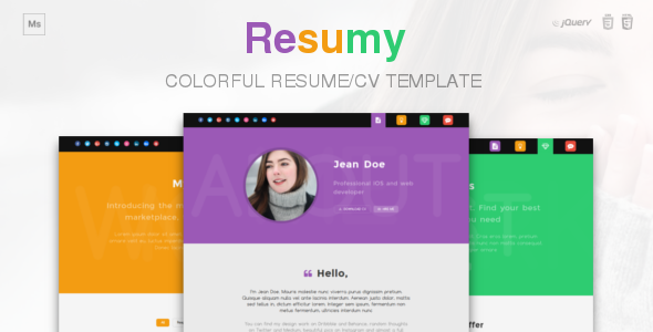 Resumy - Colorful Resume/CV Template