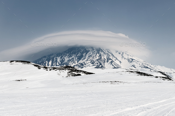Wintry Mountain Landscape of Kamchatka: Active Koryaksky Volcano - Stock Photo - Images