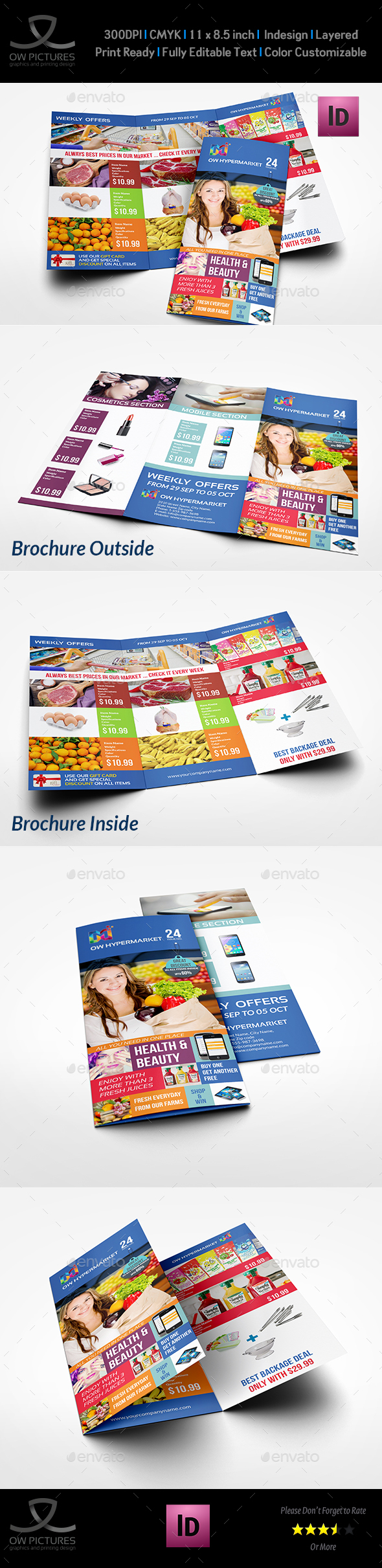 Supermarket Products Tri-Fold Catalog Brochure Template - Catalogs Brochures
