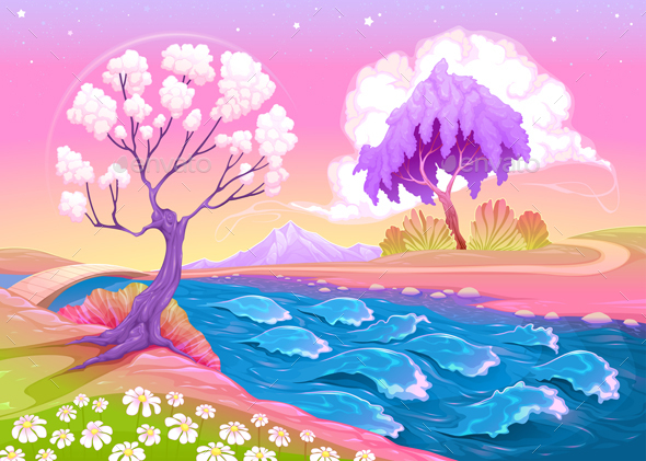 Astral Landscape with Trees and River - Landscapes Nature