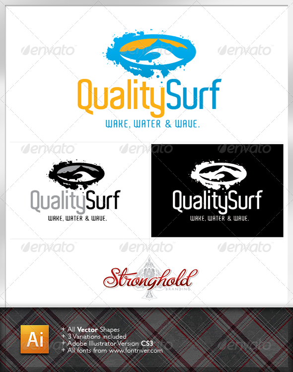Grunge Quality Surf Logo - Nature Logo Templates