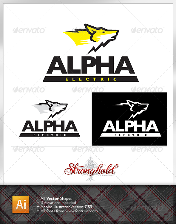 Alpha Wolf Electric Logo - Animals Logo Templates