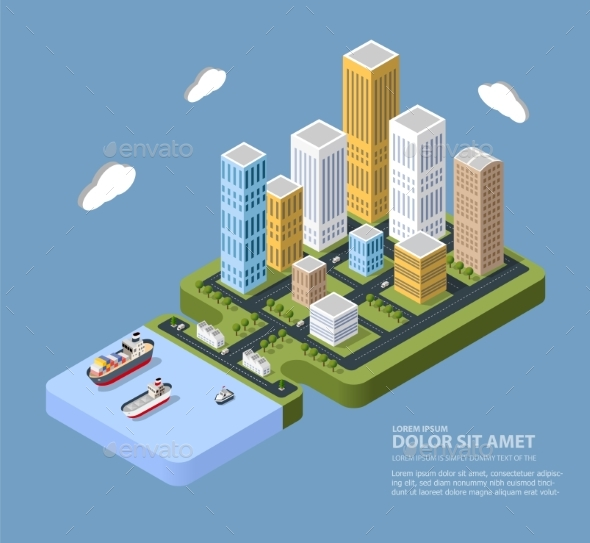 Flat Isometric City - Buildings Objects