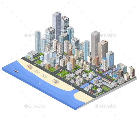 Metropolis Isometric - Buildings Objects