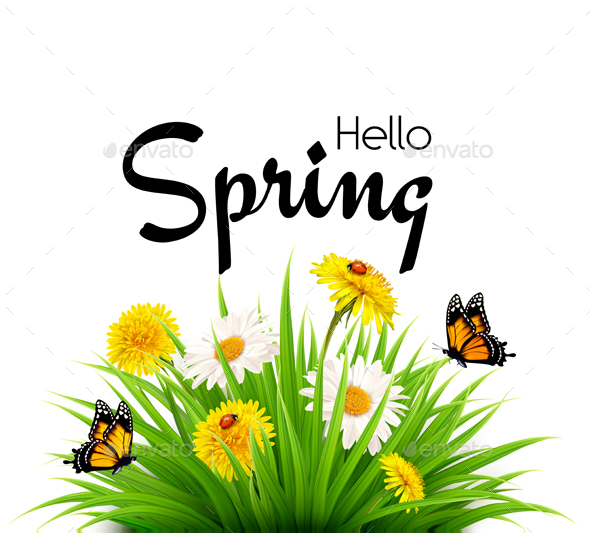 Hello Spring Background with Grass, Flowers and Butterflies. - Flowers & Plants Nature