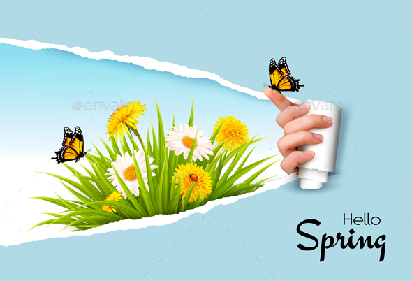 Ripped By Hand Paper Background Revealing Spring Flowers - Seasons Nature