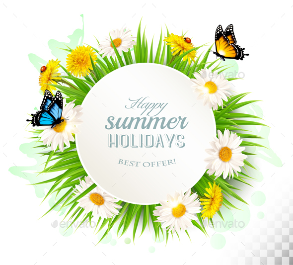 Happy Summer Holidays Banner with Grass and Flowers - Flowers & Plants Nature